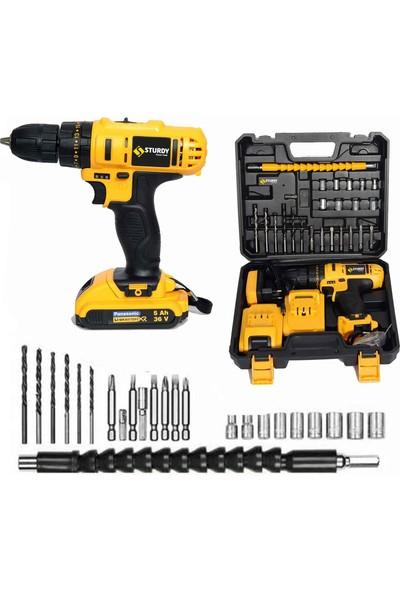 Sturdy Power Tools 46 V 5 A Darbeli Professional 27 PARÇA SETLİ Şarjlı Vidalama Matkap