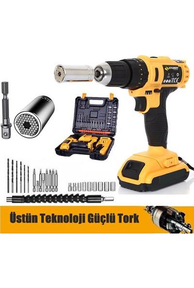 Sturdy Power Tools 48 V 6 A Darbeli Professional 24 PARÇA Şarjlı Vidalama Matkap + 7 - 19 Çok Amaçlı Lokma Ucu