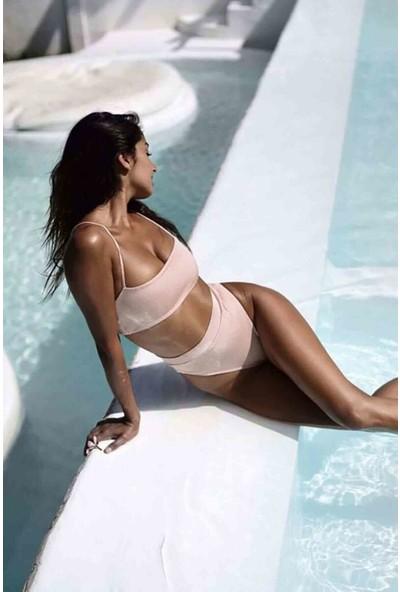 Stl V Kesim Yüksek Bel Bikini Takım Pembe