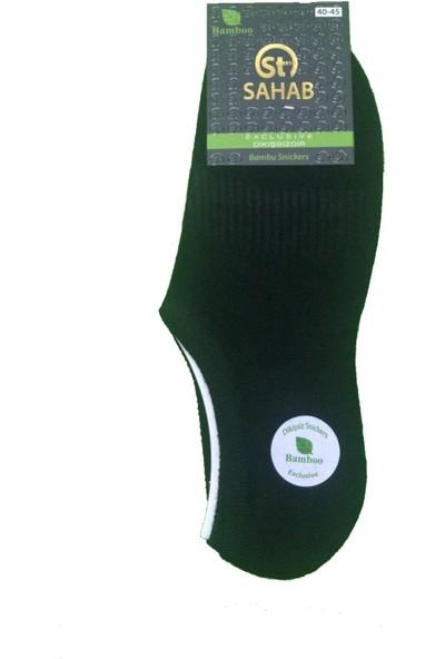 Sahab 3 Çift Siyah Renk Bambu Dikişsiz Sneaker Görünmez Çorap