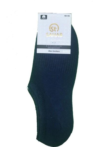 Sahab 3 Çift Lacivert Renk Dikişsiz Sneaker Görünmez Çorap