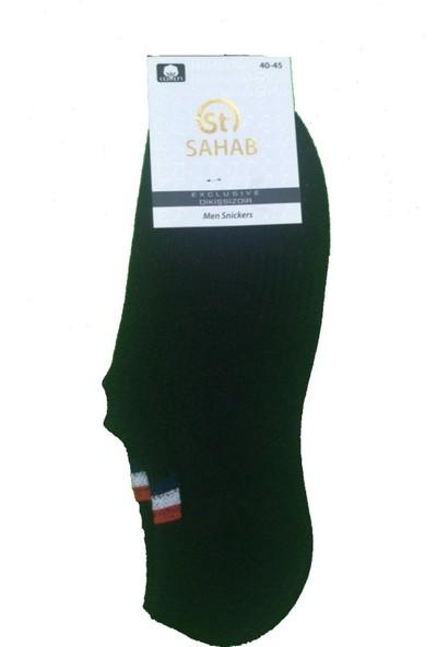Sahab 12 Çift Siyah Renk Dikişsiz Sneaker Görünmez Çorap