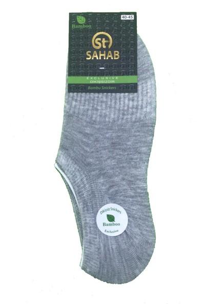 Sahab 3 Çift Gri Renk Bambu Dikişsiz Sneaker Görünmez Çorap