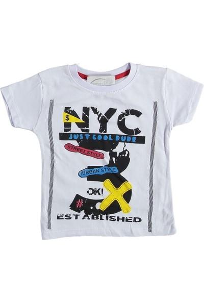 Eren Baby 4-7 Yaş Nyc Baskılı T-Shirt - Beyaz - 5-6 Yaş