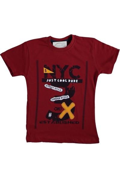 Eren Baby 4-7 Yaş Nyc Baskılı T-Shirt - Bordo - 4-5 Yaş