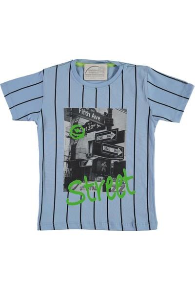 Barkod Kids 13-16 Yaş Street Baskılı T-Shirt - Mavi - 14 Yaş