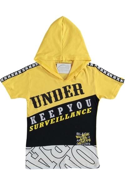 Barkod Kids 13-16 Yaş Kapşonlu Baskılı T-Shirt - Sarı - 13 Yaş
