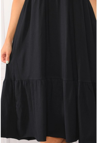 Fly Istanbul Kadın Siyah Geniş Kesim Maxi Elbise