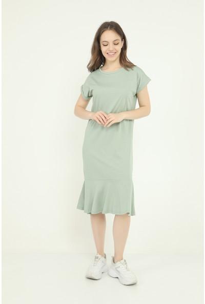 Fly Istanbul Kadın Mint Volanlı Elbise