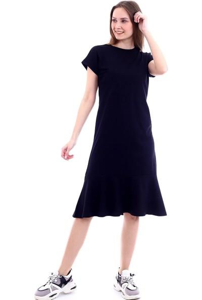 Fly Istanbul Kadın Siyah Volanlı Elbise