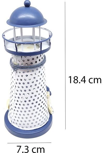 Paras Ticaret Metal Dekoratif Süs Hediyelik Şık Deniz Feneri Mumluk Tealight Mum Hediyeli!