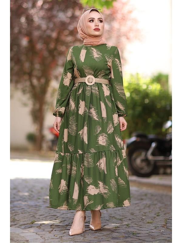 İlkimay Fırça Desen Kemerli Elbise - Haki