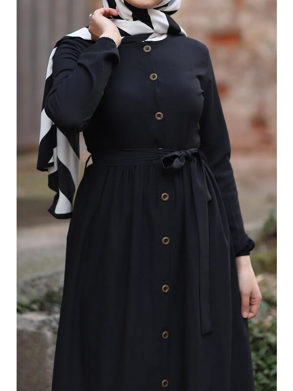 İlkimay Tam Boy Düğmeli Elbise - Siyah