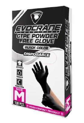 Crane Endüstriyel Yeni Nesil Hibrit Teknoloji Polietilen Eldiven Siyah Medium