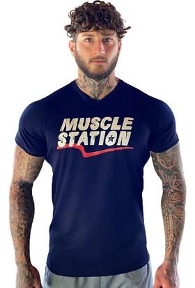 Musclestation Lacivert Fitness Tshirt WIE057