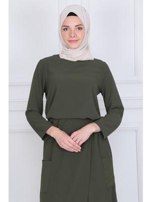 İlmek Moda Kadın Haki Etek Pantolon Tunik Cepli 3'lü Takım 5315