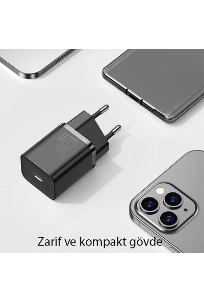 Baseus Super Si 1c 20W Hızlı Şarj Adaptörü + Type-C To Lightning iPhone 1m Şarj Kablosu TZCCSUP-B01