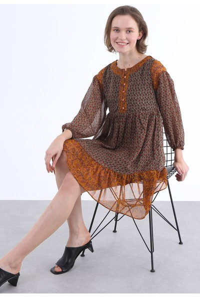 Clew Garnili Şifon Elbise 210312
