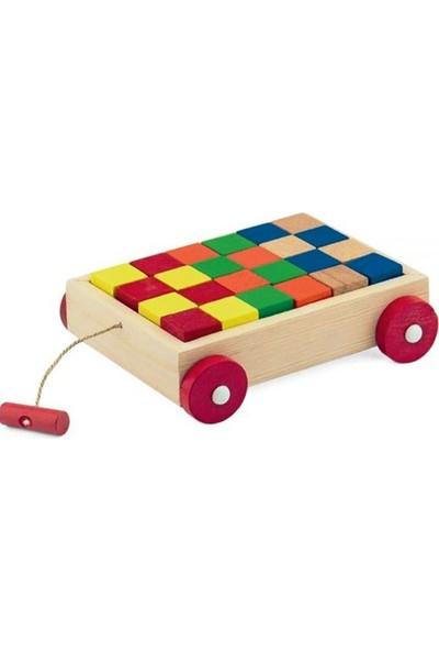 Onyıl Oyuncak Ahşap Renkli Bloklu Araba