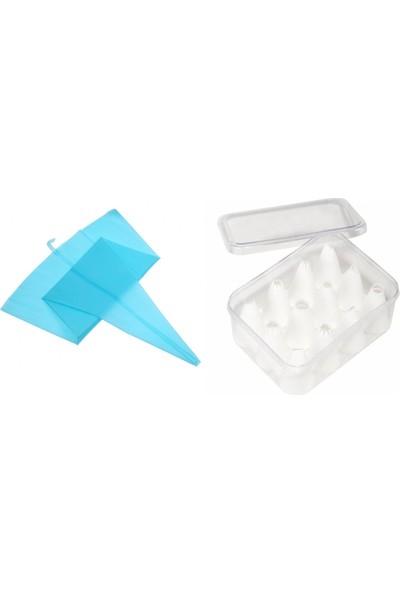 YYB Silikon Krema Sıkma Torbası 35 cm + Plastik Duy Seti 12 Parça
