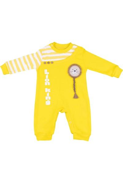 Nono Baby Erkek Bebek Tulum Aslan Nakışlı Lion King Baskılı - Sarı - 0-3 Ay