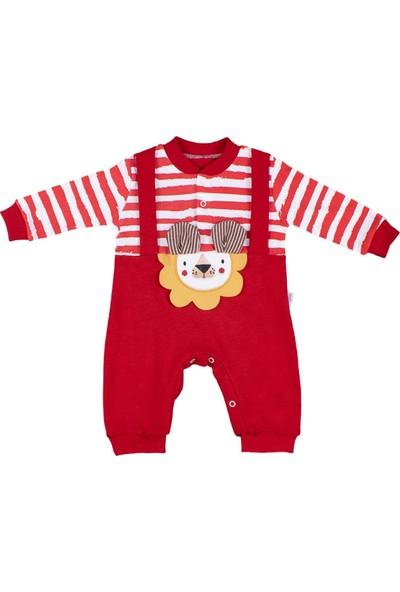 Nono Baby Erkek Bebek Tulum Aslan Nakışlı Çıtçıtlı - Kırmızı - 0-3 Ay