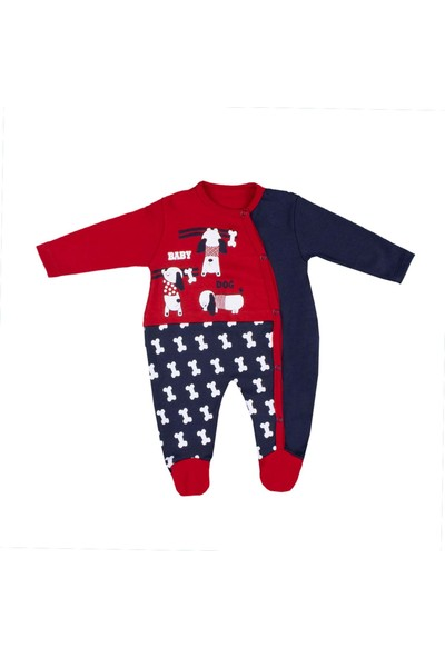 Nono Baby Erkek Bebek Tulum Köpek Baskılı Çıtçıtlı - Kırmızı - 0-3 Ay