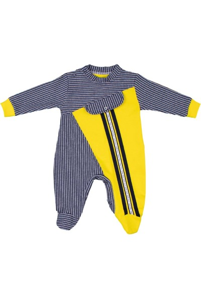 Nono Baby Erkek Bebek Tulum Şeritli Sahte Cepli - Gri - 6-9 Ay