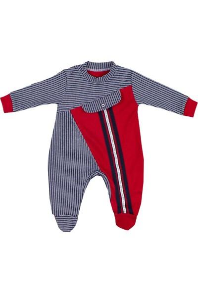 Nono Baby Erkek Bebek Tulum Şeritli Sahte Cepli - Kırmızı - 6-9 Ay