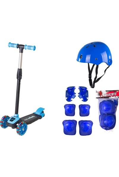 Cool Wheels LED Işıklı 3 Tekerlekli Mavi Twist Full Set Yeni Kasklı