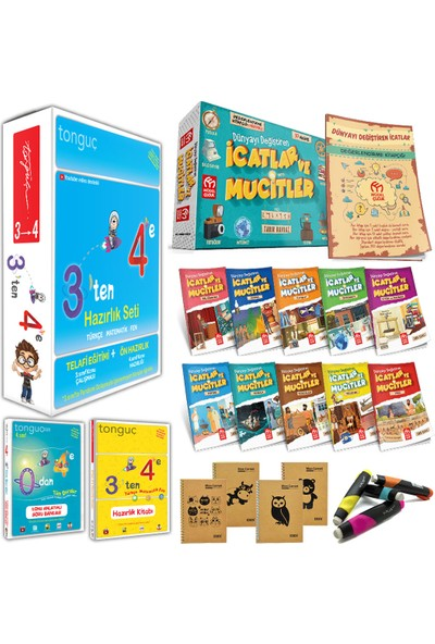 Tonguç 3'ten 4'e Hazırlık Seti + Model Yayınları Dünyayı Değiştiren Icatlar ve Mucitler Hikaye Seti