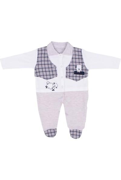 Nono Baby Erkek Bebek Tulum Kuzu Baskılı Cepli Yelekli - Lacivert - 6-9 Ay
