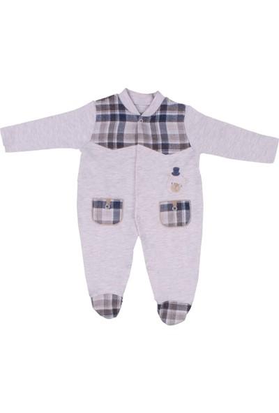 Nono Baby Erkek Bebek Tulum Cepli Ekoseli Ayıcıklı - Lacivert - 3-6 Ay
