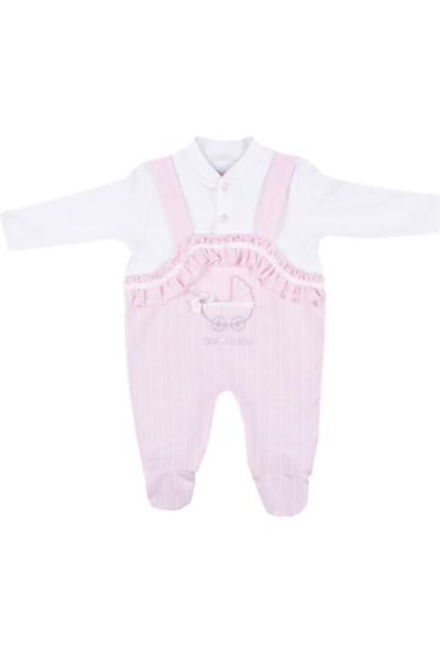Nono Baby Kız Bebek Tulum Bebek Arabası Nakışlı - Pembe - 3-6 Ay