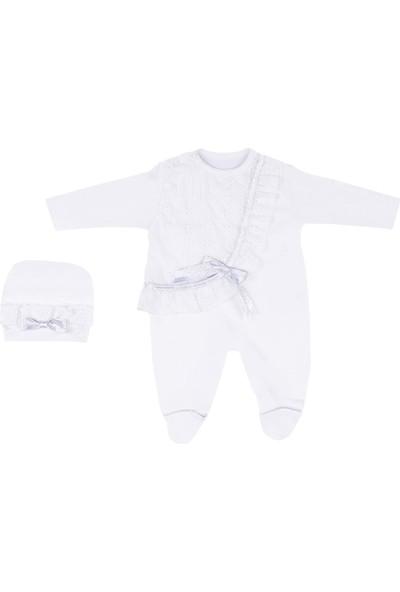 Nono Baby Kız Bebek Tulum Şapkalı Şeritli Dantel Işlemeli - Gri - 0-3 Ay