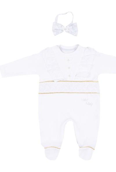 Nono Baby Kız Bebek Tulum Bandanalı Şeritli Püsküllü - Beyaz-Sarı - 6-9 Ay