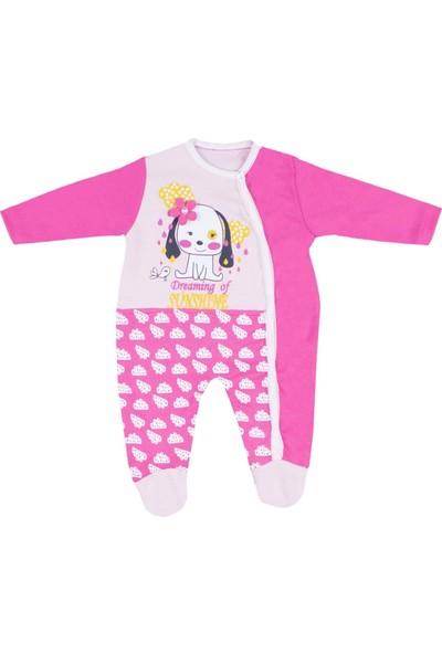Nono Baby Kız Bebek Tulum Çiçekli Köpek Baskılı - Pembe - 6-9 Ay