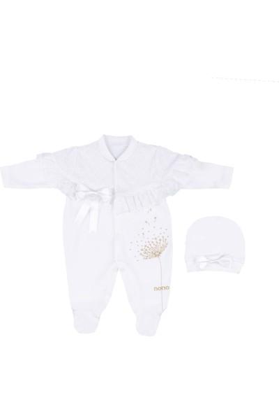Nono Baby Kız Bebek Tulum Dantelli Şallı Şapkalı Fiyonklu - Sarı - 0-3 Ay