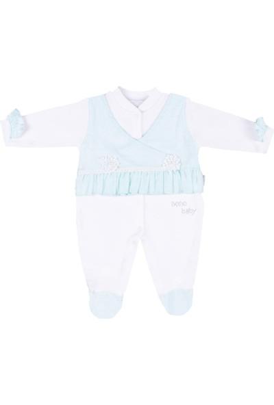 Nono Baby Kız Bebek Tulum Kolu Püsküllü Çiçek Nakışlı - Mint - 0-3 Ay
