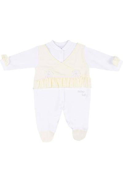 Nono Baby Kız Bebek Tulum Kolu Püsküllü Çiçek Nakışlı - Sarı - 0-3 Ay