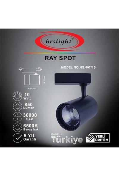 Heslıght HS.507/1S 10W Cob LED Ray Spot Siyah Kasa 6500K Beyaz Işık