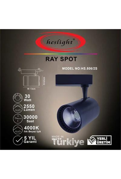 Heslıght HS.506/2S 30W Cob LED Ray Spot Siyah Kasa 4000K Ilık Beyaz Işık