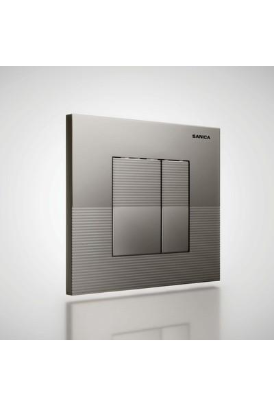 Sanica SAN100 Simflex Gömme Rezervuar & Panel Takımı Mat Krom Boyalı P03 21 x 18 cm