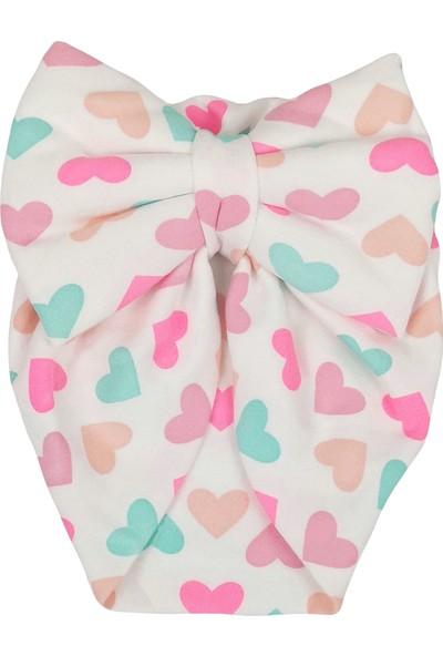 Kayra Baby Kız Bebek Desenli Fiyonk Bone Renkli Kalp