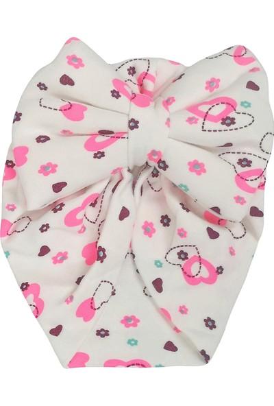 Kayra Baby Kız Bebek Desenli Fiyonk Bone Fuşya Kalp