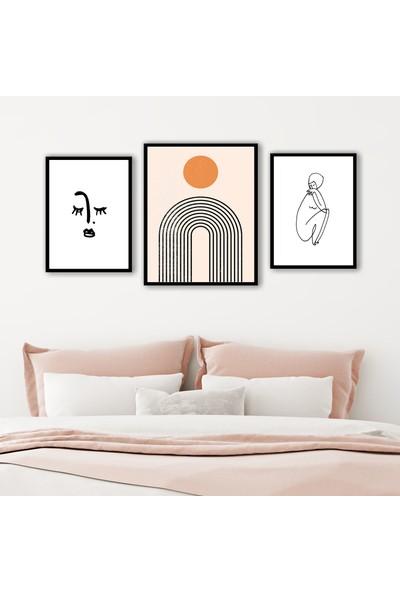 Ren House Over Horizon 3 Parça Çerçeveli Modern Soyut Poster Seti - Kenar Boşluksuz