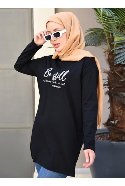 Baskı Detaylı Sweatshirt - Siyah - Por La Cara