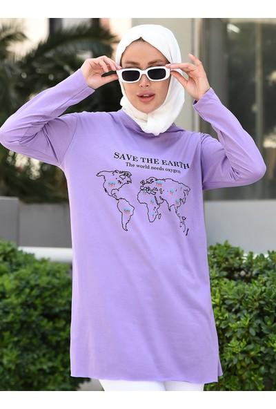 Desenli Yandan Yırtmaçlı Uzun Sweatshirt - Lila - Por La Cara