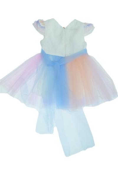 Mensis Ana Kuzusu Mensis Girls Kız Çocuk Unicorn Nakışlı Tütülü Elbise