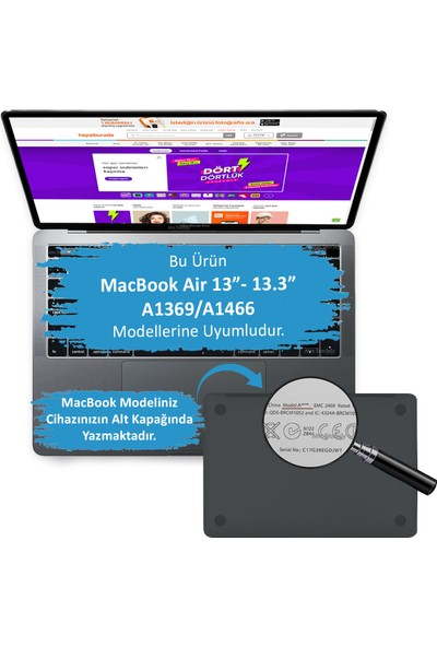 """Mcstorey MacBook Air Kılıf 13"""" Hardcase A1369 A1466 Uyumlu Koruyucu Kılıf FLOWER05 Açık Pembe"""
